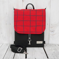 SALE 20% Black Backpack Mini canvas UNISEX 2in1 rucksack screen print Red plaid Festival Backpack Cross body bag 2015 new design