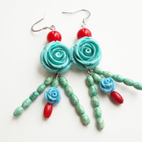 Blue Rose Earrings, Beaded Dangles