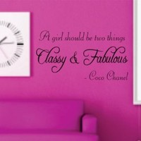 Wall Mural Decal Sticker - A Girl Should Be Two Things - Coco Chanel Quote