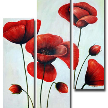 Ruby Red Poppies Canvas Wall Art