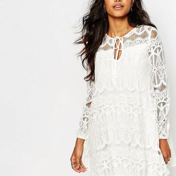 Boohoo | Boohoo Tie Front Lace Swing Dress at ASOS
