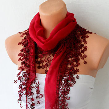 Red Ruby Cotton Scarf with Lace by fairstore on Etsy