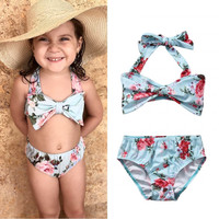 2Pcs Baby Girls Halter Bow Swimwear Two-piece Kids Girl Floral Bikini Swimwears Swimsuit Bathing Suit Swimming Costume