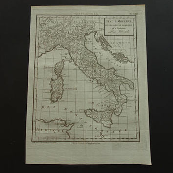 ITALY old map of Italy 1804 original 200+ years old antique print about Venice Sardinia Sicily Rome vintage maps Genoa republic