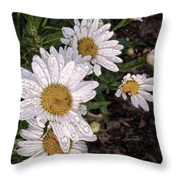 "Daisies After The Rain - flower photography Throw Pillow 14"" x 14"""