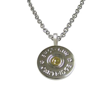 Gold and Silver Toned Shot Gun Shell Design Pendant Necklace