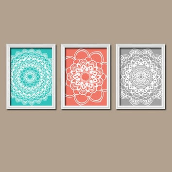 Coral Gray Wall Art Canvas Turquoise Flower Radial Sun Burst Doi