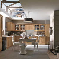 Linear walnut fitted kitchen PIEVE DI CADORE Classic Kitchen Collection by Martini Mobili