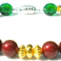 Emerald Green Burgundy and Gold Bracelet
