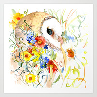 Barn Owl and Flowers Art Print by SurenArt