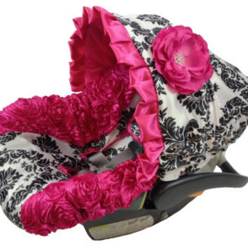 Damask with Hot Pink 3D Sides and hot pink accents Infant Car Seat Cover with Matching Neck Strap Set