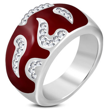 2 tones Pave-set. Spiral Oval Dome Ring