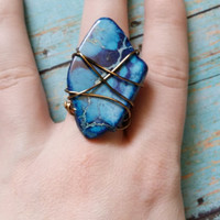 Size 8.5 RIng / Stone Statement Ring / Stone Slab Ring / Wire Wrap Ring / Colorful Stone Jewelry / Blue Stone Ring / Stone and Wire Rings