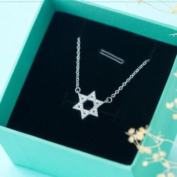 Star of David Magen Hebrew Shield CZ Necklace | Jewish Symbol Sterling-silver-jewelry Gifts Solomon Necklaces & Pendants GTLX626
