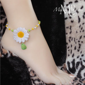 Wire Wrapped Daisy Anklet