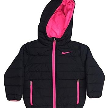 Nike Girls Toddler Insulated Winter Puffer Jacket Coat- Black/Pink