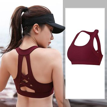 Women Seamless Sports Sra Push up Breathable Back cross Plus size Athletic Tops Gather Shockproof Bras For Fitness Yoga Running