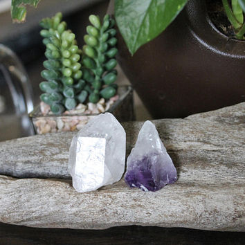 Set of Quartz & Amethyst Points, Amethyst Crystal Point, Raw Stone Specimen, Amethyst Wand, Quartz Crystal Specimen, Wiccan Altar Supply