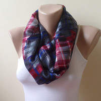 checkered Chiffon navy blue and burgundy Infinity scarf  circle scarf loop scarf gift modern woman gift unique 0042