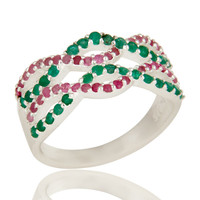 925 Sterling Silver Natural Emerald And Ruby Gemstone Cluster Infinity Ring