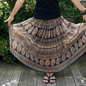 Vintage Hippie Gauze Skirt Bohemian Boho Plus Size Skirt Vintage Clothing Vintage Skirts Womens Flower Power Festival Skirt Cotton India