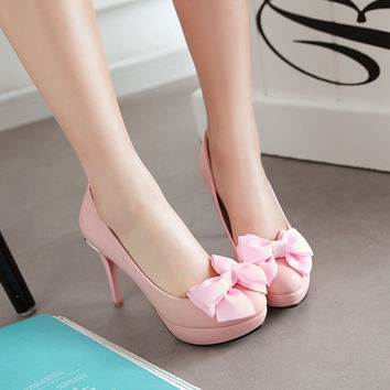 Bow Platform Pumps Ladies Stiletto Heel 2382