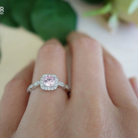 3/4 Carat Round Halo Ring, Vintage Inspired, Art Deco, Pink White Man Made Diamonds, Engagement Ring, Wedding, Promise Ring, Sterling Silver