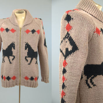 50s Cowichan Sweater / Stallion Horses Chunky Knit Northwestern Shawl Collar Hand Knit Sweater