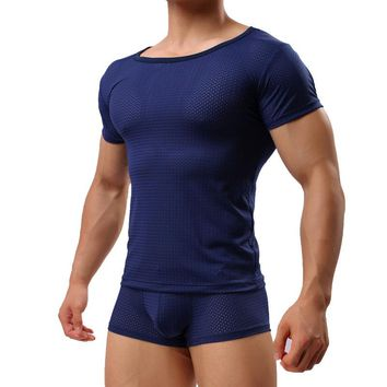 Men Sexy Male Underwear Runing Transparent See Through Gay Clothing Mesh Shirts Man Clothes ics silk Undershirts