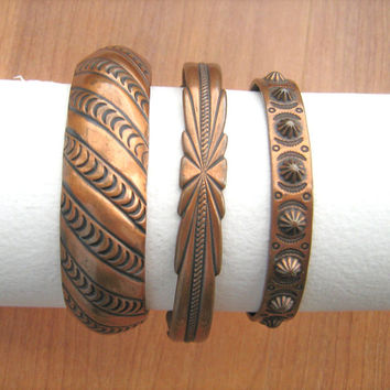 Southwestern copper cuff bracelets 3 in lot vintage 1970s