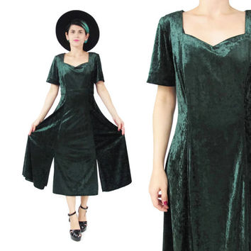 90s Green Velvet Dress Crushed Velvet Dress Short Sleeve Maxi Dress Cut Out Panels Dress Festival Grunge Goth Ethnic Bohemian Dress (M)