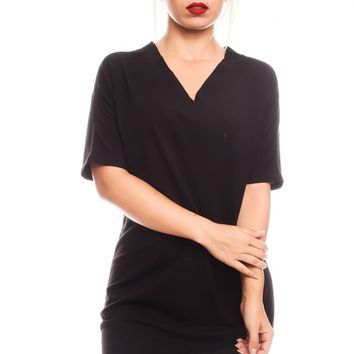 BLACK VNECK LOOK STRETCHY MATERIAL CASUAL DRESS
