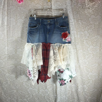 Sz 8 Red Plaid Grunge Denim Jean Festival Rustic Skirt / Upcycled Shabby Chic Romantic Punk Prairie Skirt / Gypsy Skirt /  By Tattered Fx