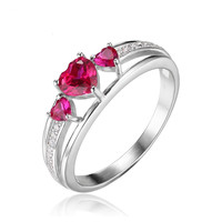 Love Heart 0.9ct Created Ruby 3 Stones - 925 Sterling Silver