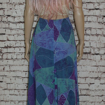 90s High Waist Tie Dye Skirt Pastel Lavender Purple Mint Green Boho Festival Hipster Rayon Stars Sun Full Witchy Witch Midi M L Grunge