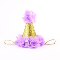 Purple and Gold Birthday Baby Hat