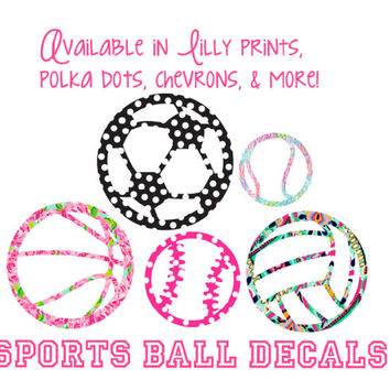 Sports Decal Soccer, Volleyball, tennis, basketball, baseball/softball Lilly Pulitzer Polka Dots Chevron Car Laptop Cel phone etc.