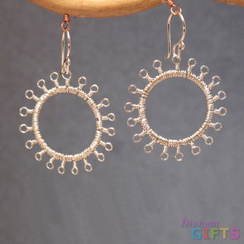 "Tiny loops wrapped around hammered circles, 1-1/4"" Earring Gold Or Silver"