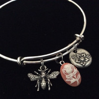 Flower Cameo with Bee Charm on a Silver Plated Expandable Bracelet Wire Bangle Meaningful Gift Adjustable Stacking Trendy
