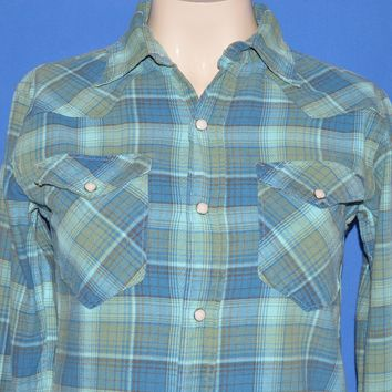 60s Maverick Blue Plaid Western Pearl Snap shirt 14.5 x 33