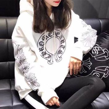VLXZGW7 Chrome Hearts' Women Casual Personality Lips Horseshoe Letter Print Loose Long Sleeve Hooded Sweater Tops