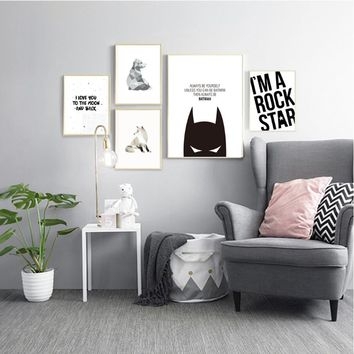 Black and White Nursery Posters Canvas Painting Batman  Wall Art Prints Nordic Pictures for Kids Rooms Decoration Unframed