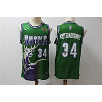 Milwaukee Bucks 34 Giannis Antetokounmpo Green Retro Jersey