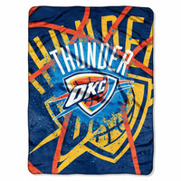 Oklahoma City Thunder NBA Royal Plush Raschel Blanket (Shadow Series) (60x80)