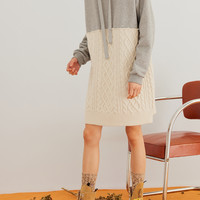 Hooded Cable-knit And Cotton-jersey Dress