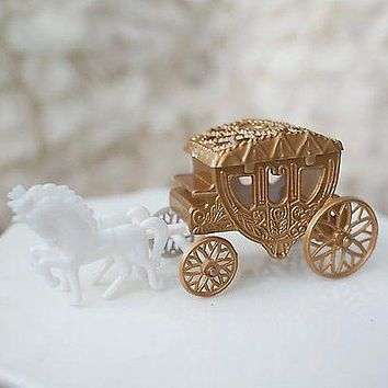 Royal Vintage Cinderella Horse and Carriage Coach Cake Topper Gold & White