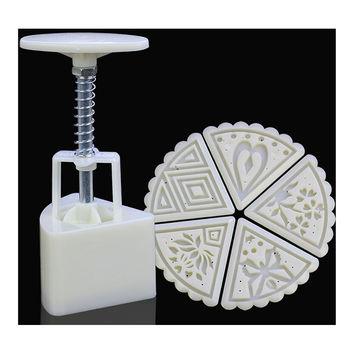 Sector shape Moon Cake Pastry Mold Hand Pressure 50g One Barrel 5 Flower piece baking mold for Mid-Autumn