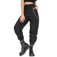 2018 Summer Female High Waist Sport Pants Women Slim Solid Color Long Golf Sports Pants With Chains
