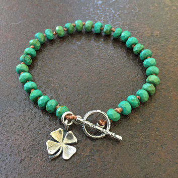 Lucky Clover Bracelet, St. Patrick's Day Four Leaf Clover, Turquoise Gemstone Beaded Jewelry by Two Silver Sisters