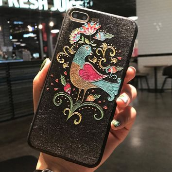 Painted Birds Pattern Case for iPhone X 8 7 6S Plus &Gift Box